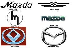Pierwsze logo Mazdy z 1934 r. stanowiła stylowa nazwa firmy. Później wielokrotnie koncern zmieniał znak, który symbolizował markę. Najczęściej jednak motywem przewodnim była litera M, w różny sposób projektowana.