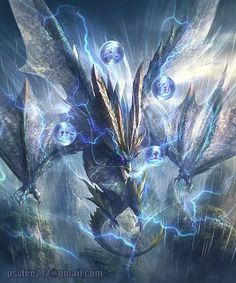 Lel, look at this dragon, he thinks he's a god, silly dragon Mythical Creatures Art, Mythological Creatures, Magical Creatures, Fantasy Creatures, Monster Hunter Art, Monster Art, Dark Fantasy Art, Fantasy Artwork, Lightning Dragon