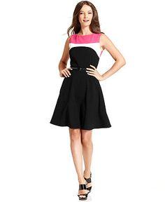 Calvin Klein Dress, Sleeveless Belted Color Block - Dresses - Women - Macys