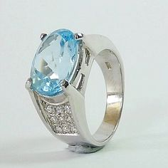 Genuine Sky Blue Topaz in Rodium over 925 Sterling Silver Ring Blue Topaz, Gemstone Rings, Etsy Seller, Fine Jewelry, Silver Rings, Sky, Engagement Rings, Gemstones, Sterling Silver