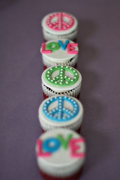 Peace Sign and Love Fondant Toppers for by parkersflourpatch