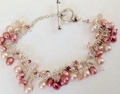 Pink pearl and crystal Sterling by KarynJamiedesigns on Etsy