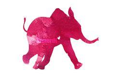 Pink Elephant, Kids Print, Colorful Animal Silhouette, Raspberry, Nursery Wall Decor, Baby Girl Giclee Art