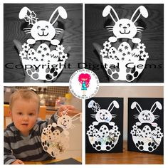 I've been doing some Easter crafting with my little man this morning! These Easter bunny paper cut designs are great for letting your little ones colour in! I've made my son's artworks into easter cards to give away next Easter! Paper Cut Design, Mind Up, Butterfly Painting, Paper Stars, Easter Wreaths, Bunny Rabbit, Holidays And Events, Easter Crafts, Paper Cutting