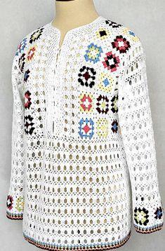 Hippie never dies crochet jacket Crochet Squares, Crochet Motif, Knit Crochet, Crochet T Shirts, Crochet Clothes, Crochet Jacket, Crochet Cardigan, Granny Square Poncho, Granny Squares