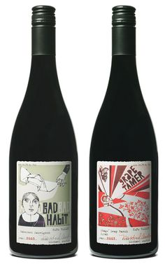 Wine label design for Bad Bad Habit and Grape Tamer wines