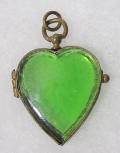 Rare Green Glass Heart Antique Victorian Locket by UniqueTiqueShop