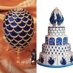 Blue and White Faberg Egg Wedding Cake