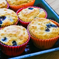 Recipe for Low-Sugar Whole Wheat and Oatmeal Blueberry Muffins with Lemon; these muffins use white whole wheat flour and oatmeal for a healthy breakfast muffin.  [from Kalyn's Kitchen] #HealthyBreakfastRecipe  #LowSugar