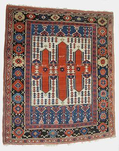 Carpet  Date:     dated A.H. 1182/ A.D. 1768–69 Geography:     Turkey Culture:     Islamic Medium:     Wool Dimensions:     Rug: H. 81 in. (205.7 cm) W. 66 in. (167.6 cm) Classification:     Textiles