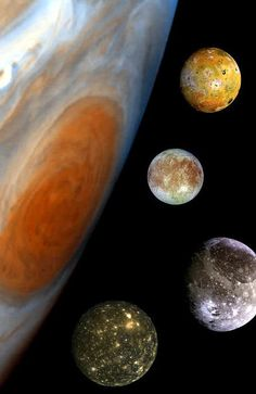 All in the family ... Planet Jupiter with four of its largest moons including Europa (sec