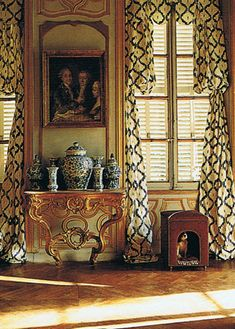 """Lillian Williams restored a chateau, reproducing 18th century fabrics    such as """"Quinconce"""" above, that was based on a Ikat like fabric    indigenous to Normandy. Lillian lent many of her antique    fabrics to textile companies for reproduction before, unhappy    with less faithful editing, she created her own…"""