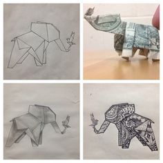 shadowkurayami - Made a dollar elephant and was asked to draw up an origami elephant tattoo idea for someone. Then was asked to add a bird. No style preference was given so this was the outcome. Love the bottom right one! (: