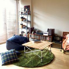 someday-5さんの、Lounge,無印良品,ポスター,IKEA,オーディオ,CD,カメラ,二人暮らし,ウッドブラインド,アウトドア,体にフィットするソファ,コールマン,買ってよかったモノ,Gretschについての部屋写真