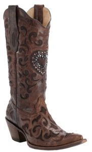Corral Ladies Cognac w/ Chocolate Inlay & Crystal Heart Snip Toe Western Boots | Cavender's