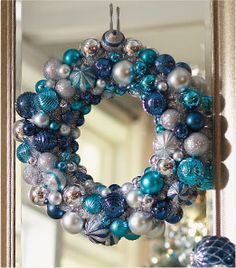 Diy blue and silver christmas wreath christmas wreaths diy christmas ornaments martha stewart google search solutioingenieria Image collections