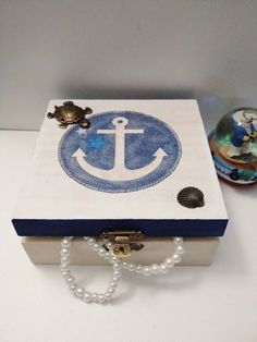 Decoupage jewelry box, Anchor decoration, Sailor decoration, Turtle, Shell,  Blue White, Wooden jewelry box, Sailor jewelry box Wooden Jewelry Boxes, Anchor, Sailor, Decoupage, Turtle, Shells, My Etsy Shop, Blue And White, Decoration
