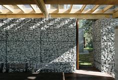 Gabion wall architecture.