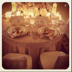 Romantic Bride and Groom table.