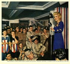 A blond bombshell of a singer preforming at The Stage Door Canteen, 1944. #vintage #1940s #WW2