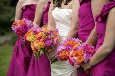 Fuchsia bridesmaid dresses and brightly colored bouquets for Christopher Confero designed wedding, photos by Wynter Photography | via junebugweddings.com