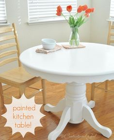 Better Homes and Gardens, How to paint a pedestal table. This is my exact table! Decor, Redo Furniture, Dining Table, White Painted Furniture, Painted Table, Kitchen Table Wood, Painted Kitchen Tables, Furniture Makeover, Kitchen Paint
