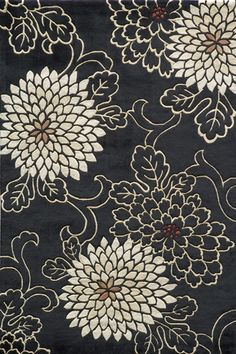Koi 13 Black Floral Transitional and Contemporary rug - Momeni Rugs | Rugs by SelectRugs.com