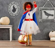 Shop super hero amazing girl costume from Pottery Barn Kids. Find expertly crafted kids and baby furniture, decor and accessories, including a variety of super hero amazing girl costume. Girl Superhero Costumes, Diy Girls Costumes, Superhero Kids, Super Hero Costumes, Halloween Costumes For Girls, Cool Costumes, Halloween Kids, Halloween 2017, Costume Ideas