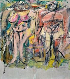 Two Women in the Country, 1954 by Willem de Kooning. Abstract Expressionism. nude painting (nu)