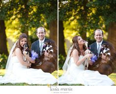 her day was complete when the furry babies came to join them in pictures all dressed for the occasion! #atlanta wedding pictures #wedding pictures with dogs