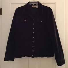 """REDUCED AGAIN! Chico's Corduroy Jacket Black stretch cotton corduroy jacket.  Button front and cuffs.  Unlined.  Very good condition.  About 23"""" from base of collar to rear hem.  Chico's size 1, which is like a small or 8-10 in typical sizing. Chico's Jackets & Coats Jean Jackets"""