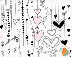 SALE 50% Heart Clip Art Doodles Printable Wedding by FishScraps