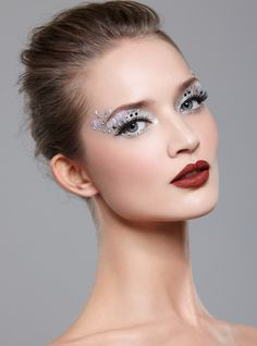 Shimmering black & white make-up with crystal and sequin accents by MUA Amber Carroll.