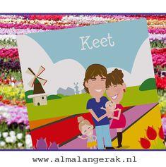 Deze vrolijke #hollandse #geboortekaarten waar het #gezin op is #nagetekend mocht ik opmaken.   Op de kaarten #tulpen #bloembollenvelden én een #molentje.  #geboortekaartjes #portret #familieportret #molen #bloembollen #keukenhof #tulpen