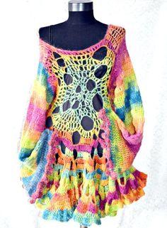 Crocheted Dress Autumn PoemBohemianRomantic by irinacarmen on Etsy, $188.00