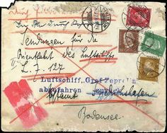 "Airship Zeppelinmail, 1929, cover with 4 stamps from ""Berlin 24. 3. 29"" by express and in Berlin through pneumatic post to Friedrichshafen ""mailings for the Orient trip of the Air ship L. Z. 127"", notice of receipt 25. 3., with blue two-line cancel ""airship ""Count Zeppelin"" departed return"", reverse two-line cancel ""Rücksendungsvermerk expertized I. A. 61"".   Dealer Berliner Auktionshaus Schlegel  Auction Minimum Bid: 100.00 EUR"