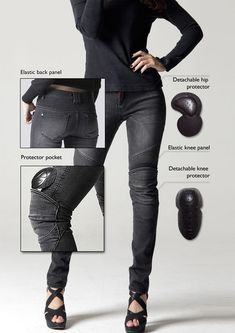 Show details for uglyBROS TWIGGY Womens Moto Pants - motorcycle gear - Motorcycle Motorcycle Women, Motorcycle Style, Motorcycle Outfit, Womens Motorcycle Fashion, Biker Chick Outfit, Biker Fashion, Saddle Bags Motorcycle, Motorcycles For Women, Biker Chick Style