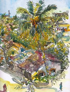Tropical Watercolor Sketch Goa India palm tree and by SketchAway