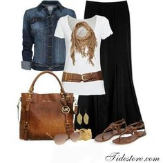 Denim jacket, Black maxi skirt, White top, Gold accessories, sandals and cognac michael kors tote purse