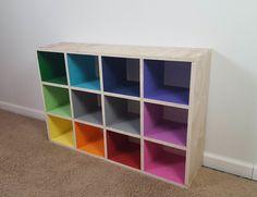 Rainbow Mini Cube Shelf Rainbow Mini Cube Shelf,Daphne room Rainbow Mini Cube Shelf: 4 Steps (with Pictures) Rainbow Bedroom, Rainbow Room Kids, Rainbow Nursery, Rainbow House, Cube Shelves, Toy Rooms, Big Girl Rooms, Classroom Decor, Classroom Cubbies