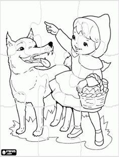 Roodkapje puzzel. In het bos Roodkapje ontmoet de wolf en vertelt hem dat ze gaat naar haar grootmoeder te bezoeken kleurplaat