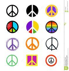 Sistema De Signos De La Paz Símbolos Coloridos En Diversos Estilos ...