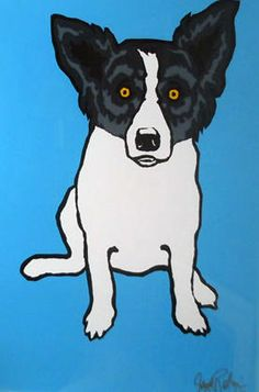 """Tiffany""1993    blue dog art"