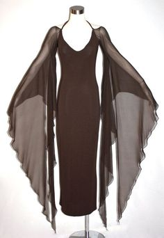 Vintage HALSTON Gown Brown Backless Halter Angel Sleeve Maxi Dress