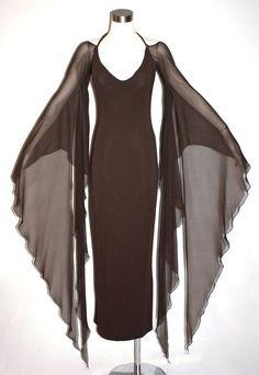 Vintage HALSTON Gown Brown Backless Halter Angel Sleeve Maxi Dress