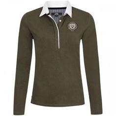 HV-Polo Poloshirt Lara Poloshirt met lange mouwen en bescheiden logo op de borst.  De polo heeft een witte kraag.