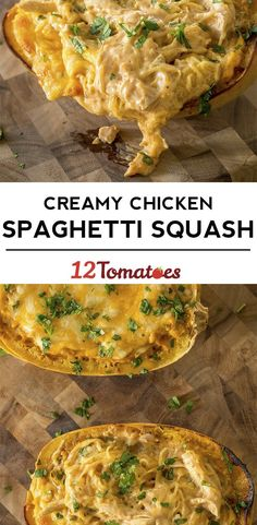 Use spaghetti squash instead of pasta to make a yummy version of chicken spaghetti that the whole family loves! Cheesy Chicken Spaghetti, Spaghetti Squash Recipes, Veggie Dishes, Vegetable Recipes, Chicken Recipes, Chicken Meals, Low Carb Recipes, Cooking Recipes, Healthy Recipes