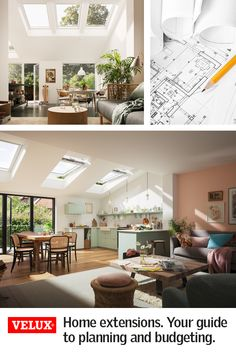 No two extension projects are the same, and timelines can differ dramatically depending on the size and complexity of the project. We've created an example timeline to give you an idea of the key milestones in a typical project. From laying the foundation Home Interior Design, Interior Decorating, Kitchen Diner Extension, House Extensions, Living Room Inspiration, Kitchen Living, Home Furniture, Bedroom Furniture, Furniture Ideas