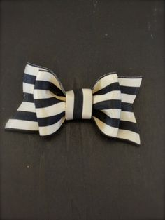 The Posh Society Stripe bow in black and ivory ribbon  baby toddler girl woman headband or clip