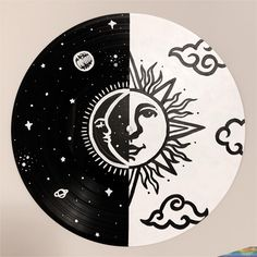 Excited to share this item from my shop: Split Skies Painted Record - Hand painted vinyl records/wall decor/painted record/custom wall art Cute Canvas Paintings, Small Canvas Art, Wall Paintings, Portrait Paintings, Acrylic Paintings, Record Wall Art, Cd Wall Art, Record Decor, Cd Decor